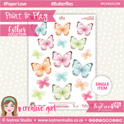 PP/194/CC/BF - Print&Play - CUTE CUTS - Butterflies - Esther Collection