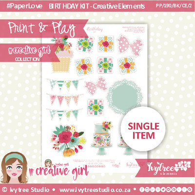 PP/190/BK/CE/2 - Print&Play - BIRTHDAY KIT - CUTE CUTS - Creative Elements (2) - Creative Girl Collection