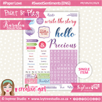 PP/195/CC/SS - Print&Play - CUTE CUTS - Sweet Sentiments (Eng/Afr) - Karalea Collection