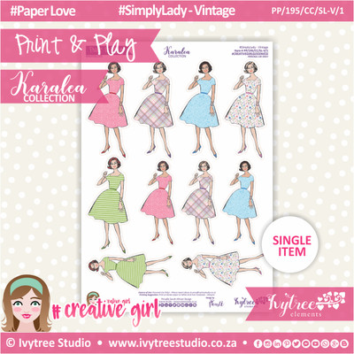 PP/195/CC/SL-V/1 - Print&Play - CUTE CUTS - Simply Lady - Vintage 1 - Karalea Collection