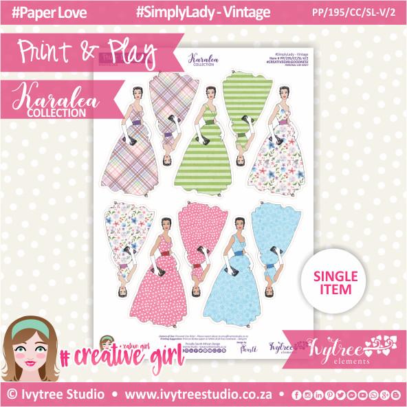 PP/195/CC/SL-V/2 - Print&Play - CUTE CUTS - Simply Lady - Vintage 2 - Karalea Collection