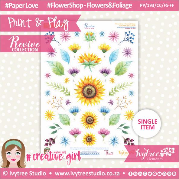 PP/193/CC/FS-FF - Print&Play - CUTE CUTS - Flower Shop-Flowers&Foliage - Revive Collection