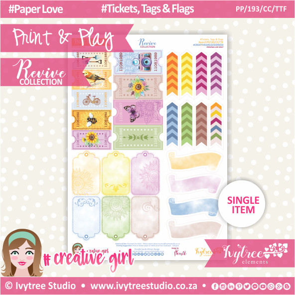 PP/193/CC/TTF - Print&Play - CUTE CUTS - Tickets, Tags & Flags - Revive Collection