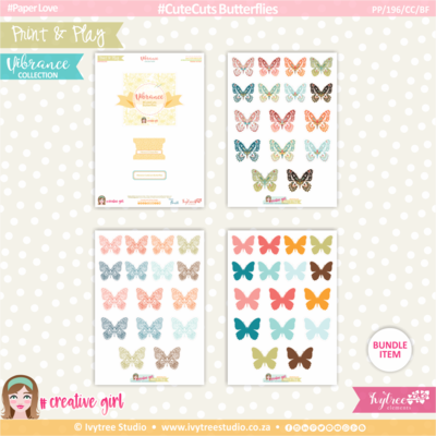 PP/196/CC/BF - Print&Play - CUTE CUTS - Butterflies - Vibrance Collection