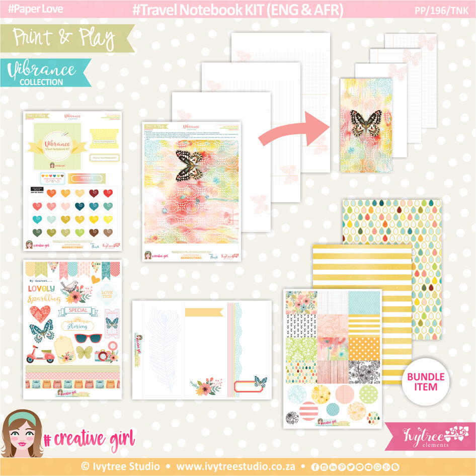 PP/196/TNK - Print&Play - Travel Notebook KIT (Eng/Afr) - Vibrance Collection