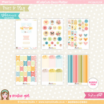 PP/196/CC/DP - Print&Play - CUTE CUTS - Deco Platter - Vibrance Collection