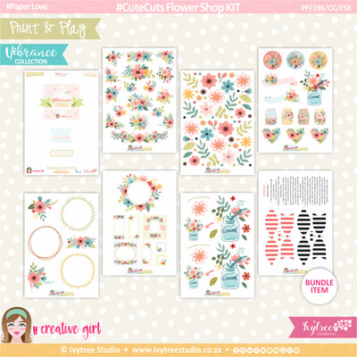 PP/196/CC/FSK - Print&Play - CUTE CUTS - Flower Shop KIT - Vibrance Collection