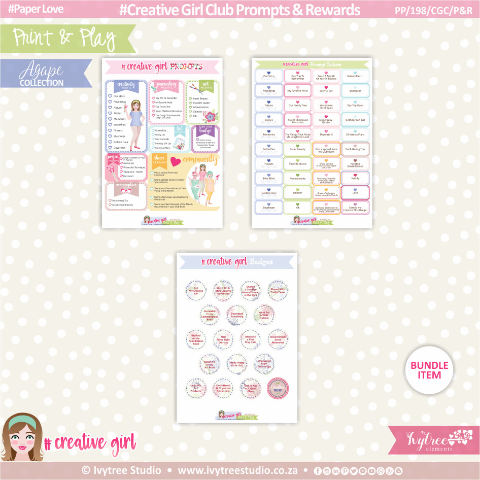 PP/198/CGC/P&R - Print&Play - Creative Girl Club Prompts & Rewards - OurStory Collection