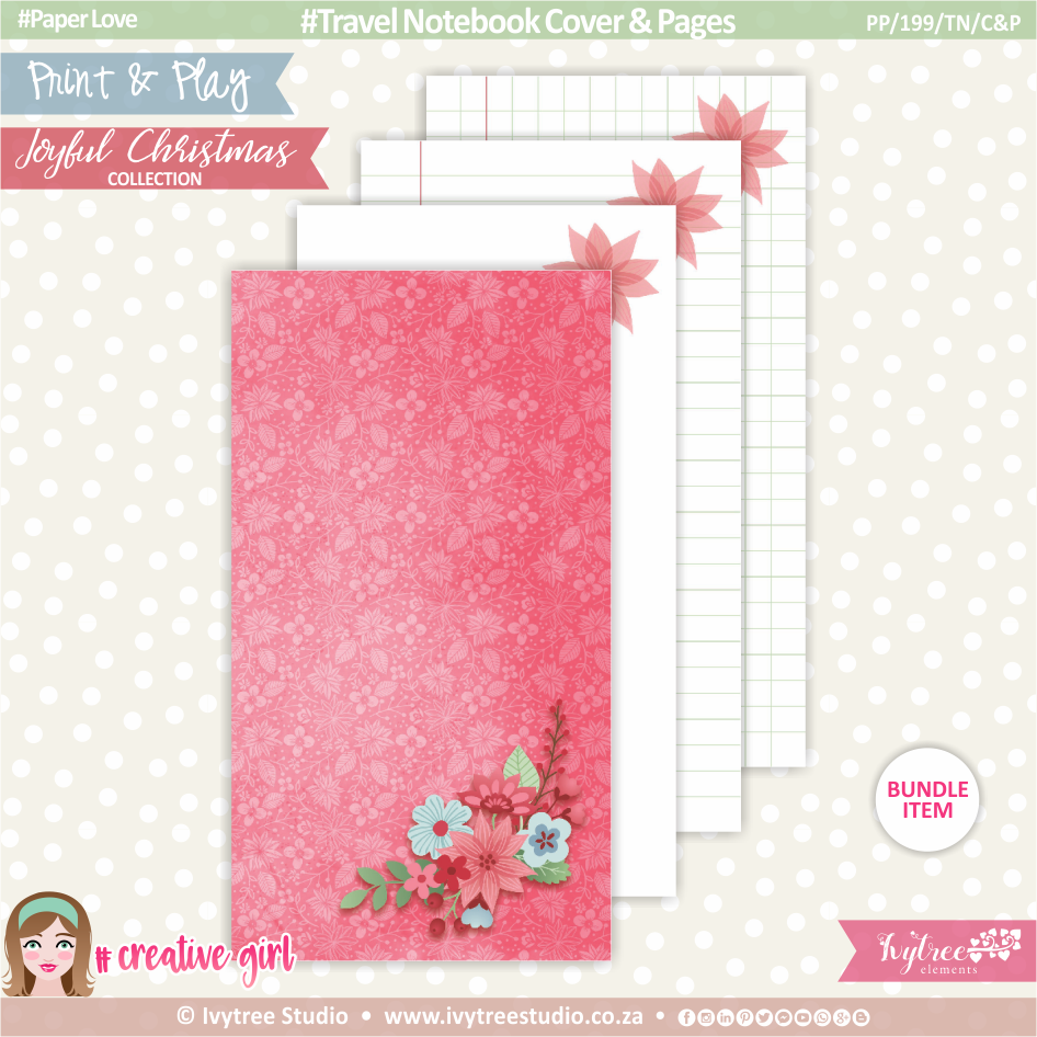PP/199/TN/C&P - Print&Play - Travel Notebook - Cover&Pages - Joyful Christmas Collection