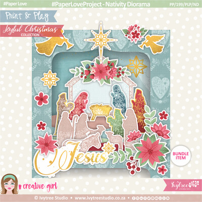PP/199/PLP/ND - Print&Play - Paper Love Project - Nativity Diorama - Joyful Christmas Collection (incl. FREE Cards Kit)