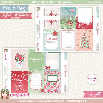 PP/199/PPC - Print&Play - PRETTY POCKET CARDS - (Eng/Afr) - Joyful Christmas Collection