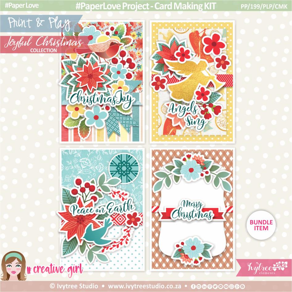 PP/199/PLP/CMK - Print&Play - Ezee Cards - Christmas Card Kit - Joyful Christmas Collection