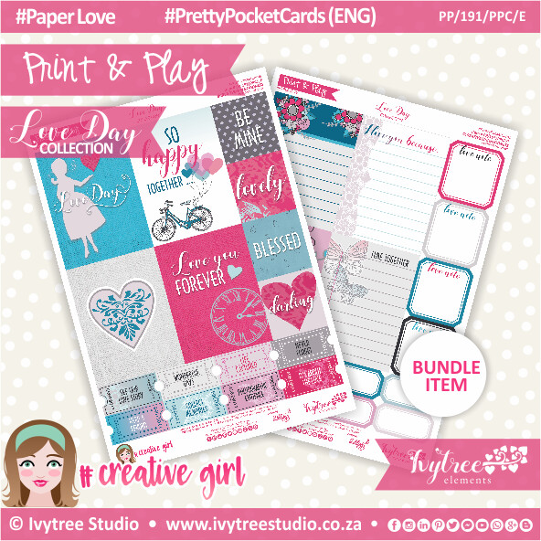 PP/191/PPC - Print&Play - PRETTY POCKET CARDS - Variety (Eng/Afr)  - Love Day Collection