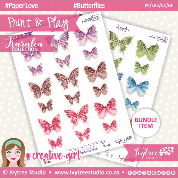 PP/195/CC/BF - Print&Play - CUTE CUTS - Butterflies - Karalea Collection