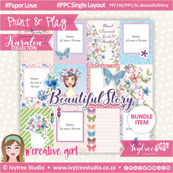 PP/195/PPC/SL - Print&Play - Pretty Pocket Card Single Layout - BeautifulStory (Eng/Afr) - Karalea Collection