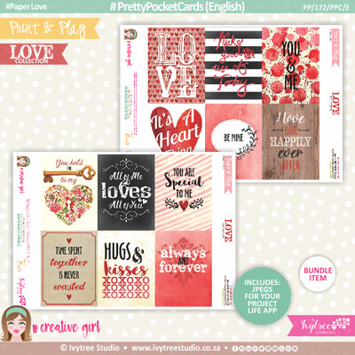PP/172/PPC - Print&Play - PRETTY POCKET CARDS - (Eng/Afr) - LOVE Collection - NEW: Now with Jpg's for Project Life App!!