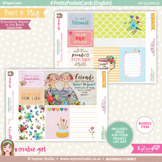 PP/162/PPC - Print&Play - PRETTY POCKET CARDS - (Eng/Afr) - Friendship Begins in the Heart Collection - NEW: Now with Jpg's for Project Life App!!