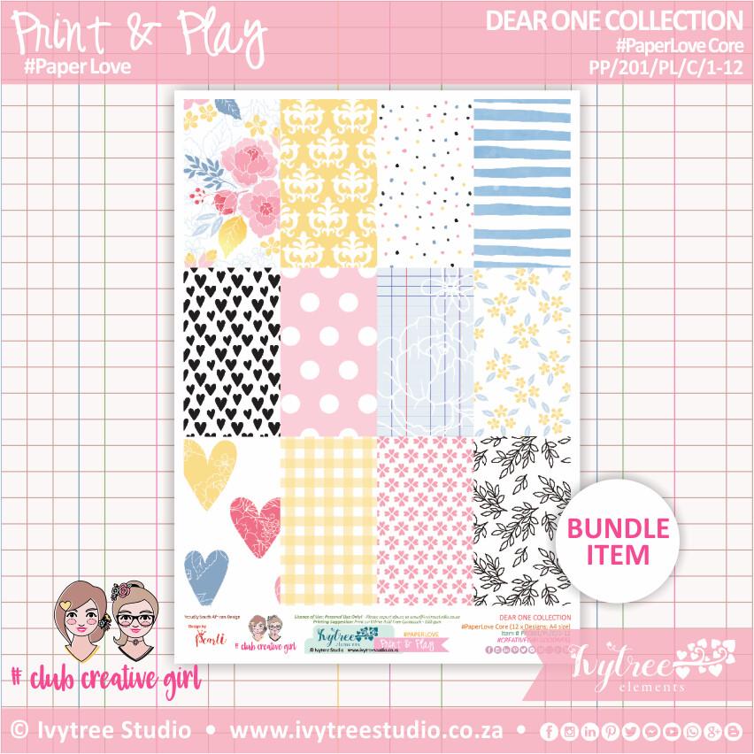 PP/201/PL/C - Print&Play - PaperLove Core Bundle - (A4 x 12) - Dear One Collection