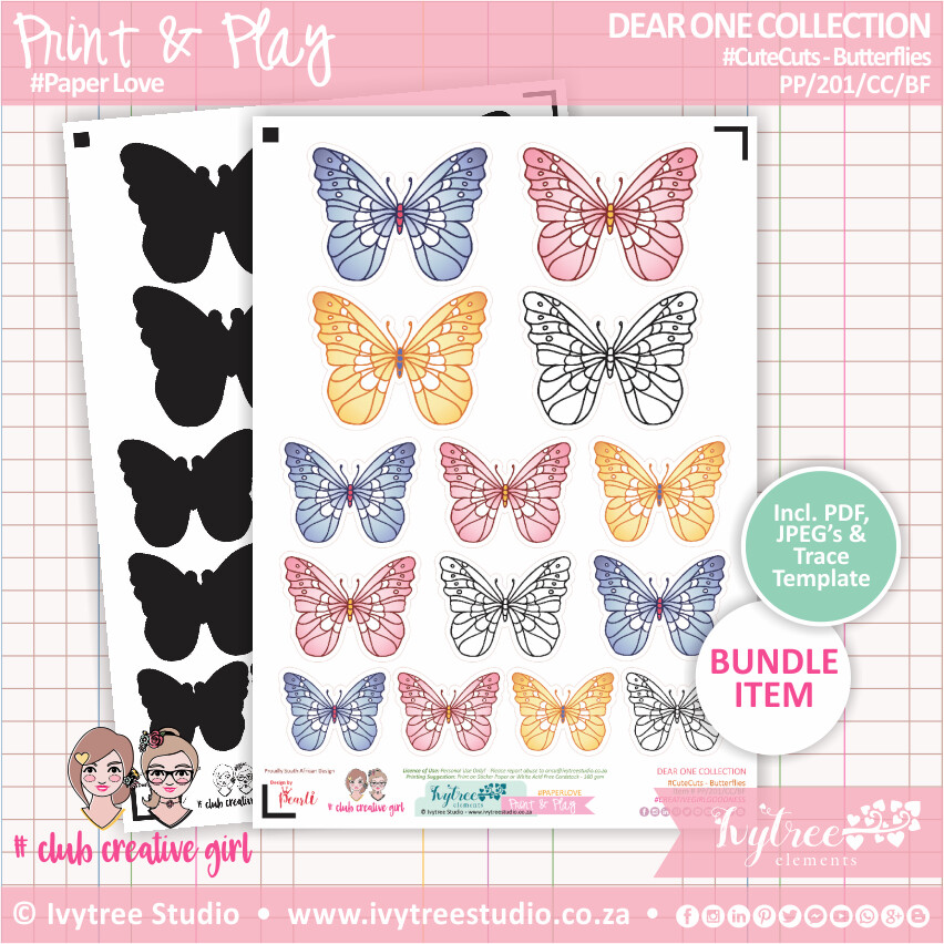 PP/201/CC/BF - Print&Play - CUTE CUTS - Butterflies - Dear One Collection