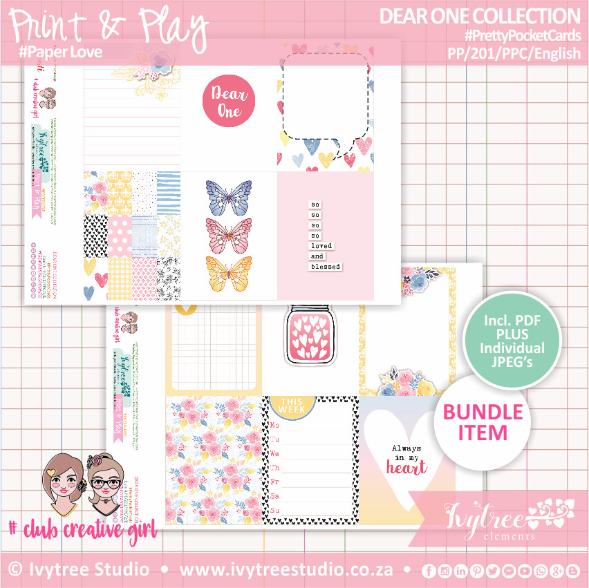 PP/201/PPC - Print&Play - PRETTY POCKET CARDS - (Eng/Afr) - Dear One Collection (incl. individual JPG's