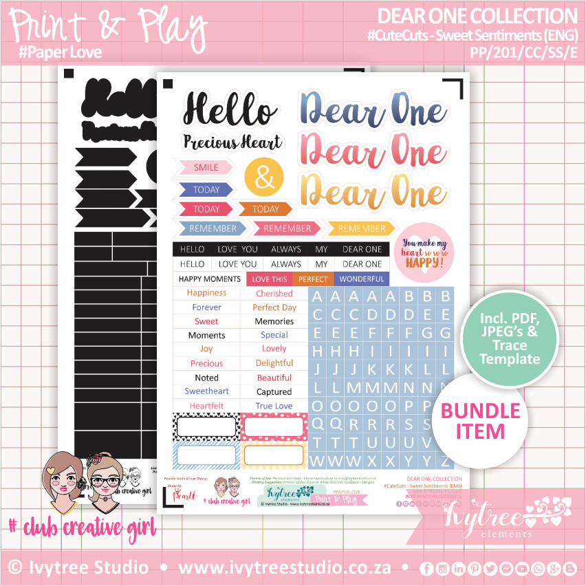 PP/201/CC/SS - Print&Play - CUTE CUTS - Sweet Sentiments (Eng/Afr) - Dear One Collection