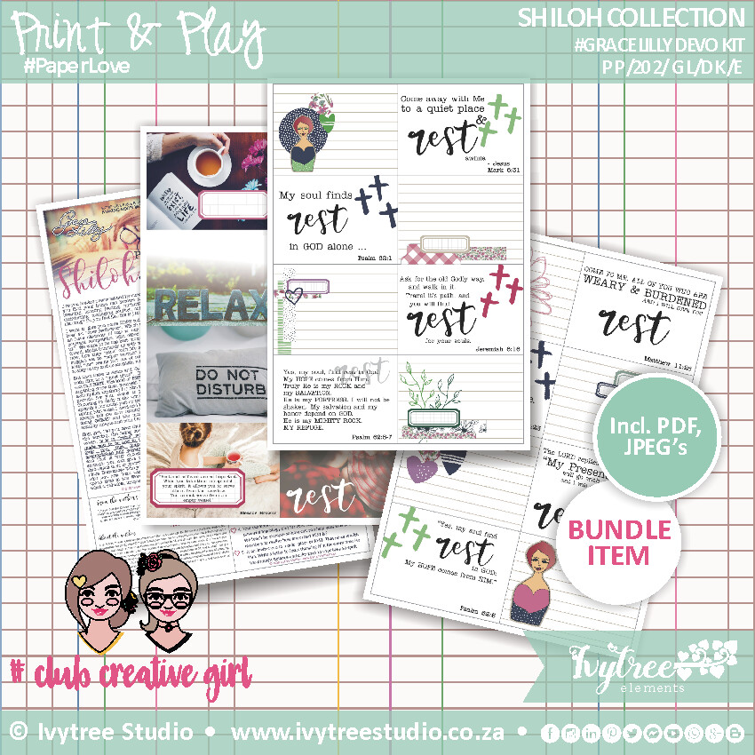 PP/202/GL/DK - Print&Play - SHILOH COLLECTION - Gracelilly Devotional Kit - Shiloh Place of Rest - Incl. English+Afrikaans kits (4 page kit)
