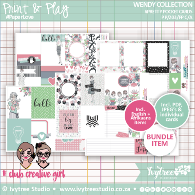 #PP/203/PPC - PRINT&PLAY - Wendy Collection - Pretty Pocket Cards (Incl. Eng.&Afr. elements)