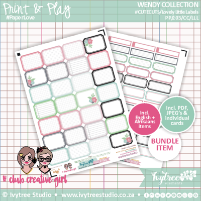 #PP/203/LLL - PRINT&PLAY - Wendy Collection - Lovely Little Labels