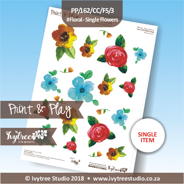 PP/162/CC/FS/3 - Print&Play Heart Friends - Cute Cuts - FLOWER SHOP - Floral - Single flowers