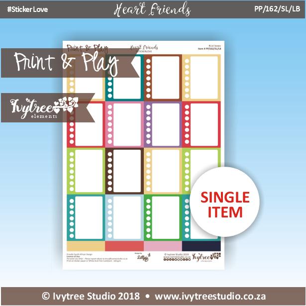 PP/162/SL/LB - Print&Play Heart Friends - STICKER LOVE! - List Boxes