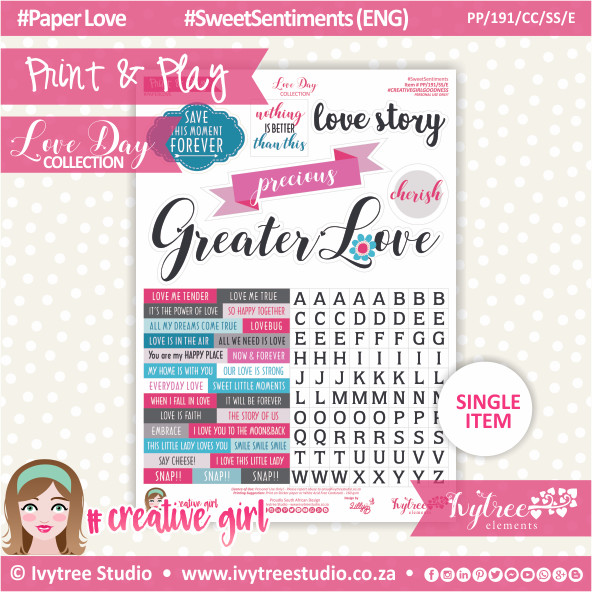 PP/191/CC/SS - Print&Play - CUTE CUTS - Sweet Sentiments (Eng/Afr) - Love Day Collection