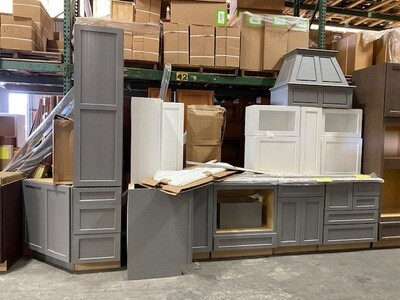 Overstock Kitchen Grey & White Beadboard Set