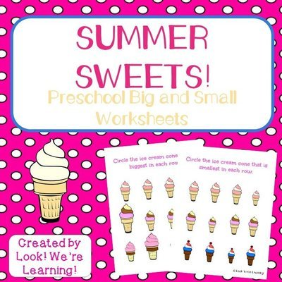 Ice Cream Preschool Big and Small Worksheets