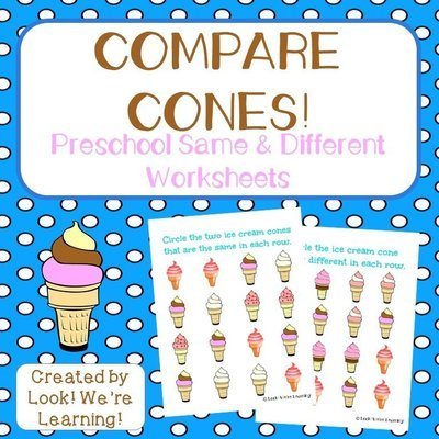 Ice Cream Preschool Same and Different Worksheets