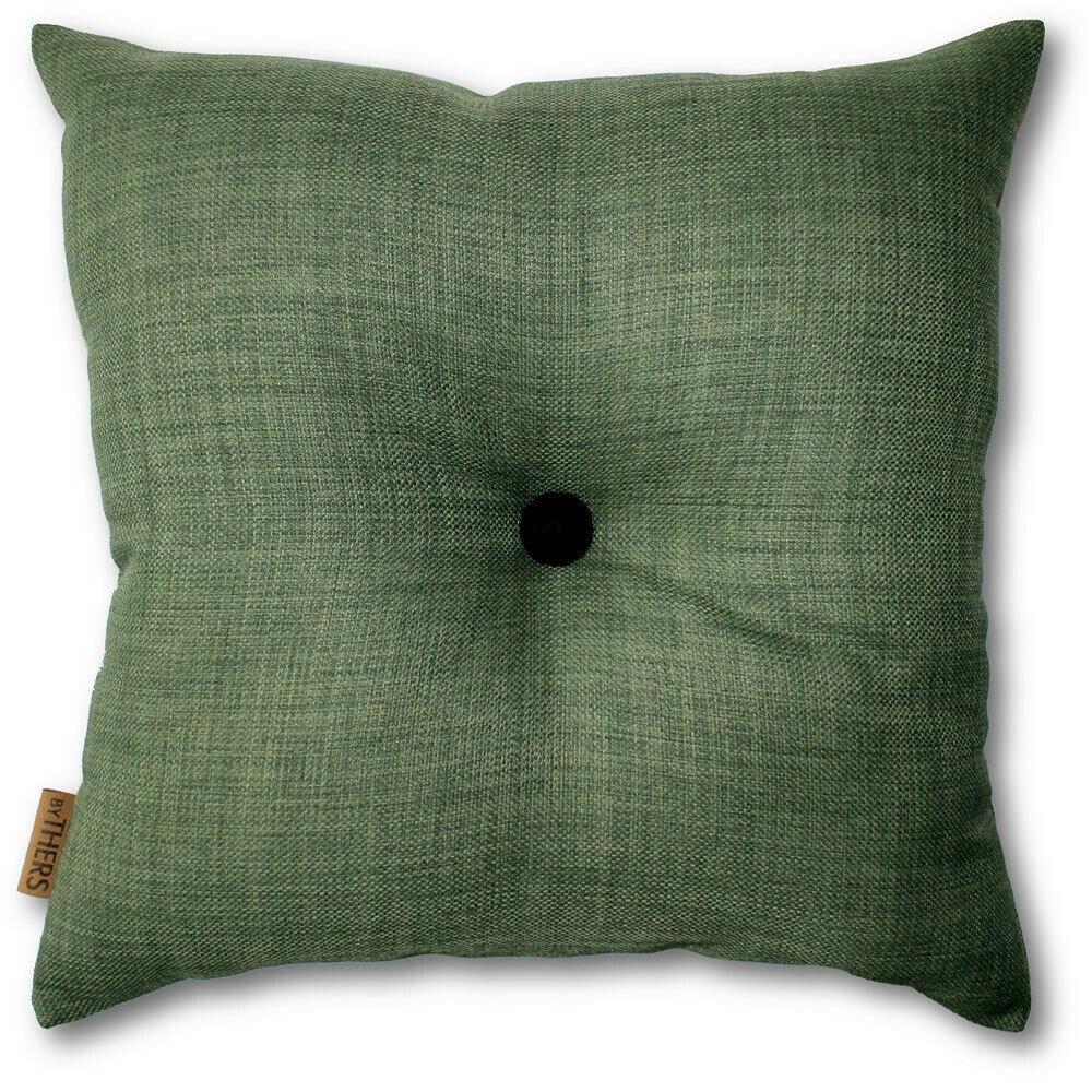 Mørk grøn pude med knap