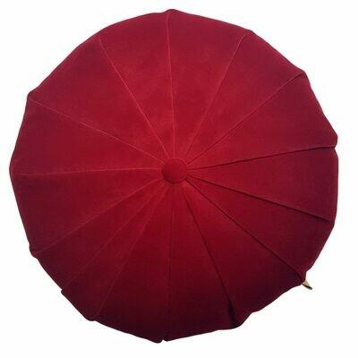 Rund velour pude - Rød