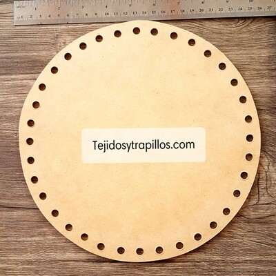 Base de madera redonda con orificios 25cm