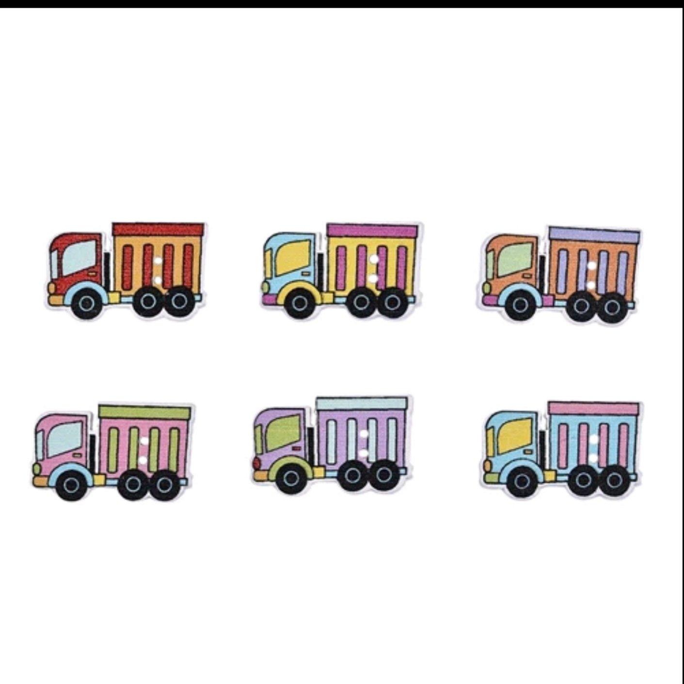 Botón Madera Camiones  10 unidades