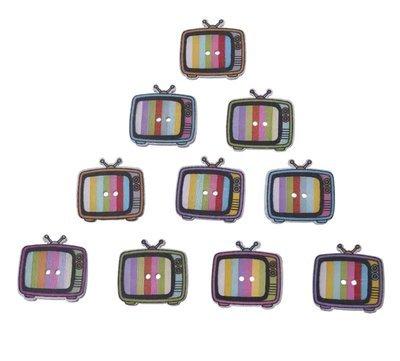 TV Botón Madera  Vintage, 10 unidades