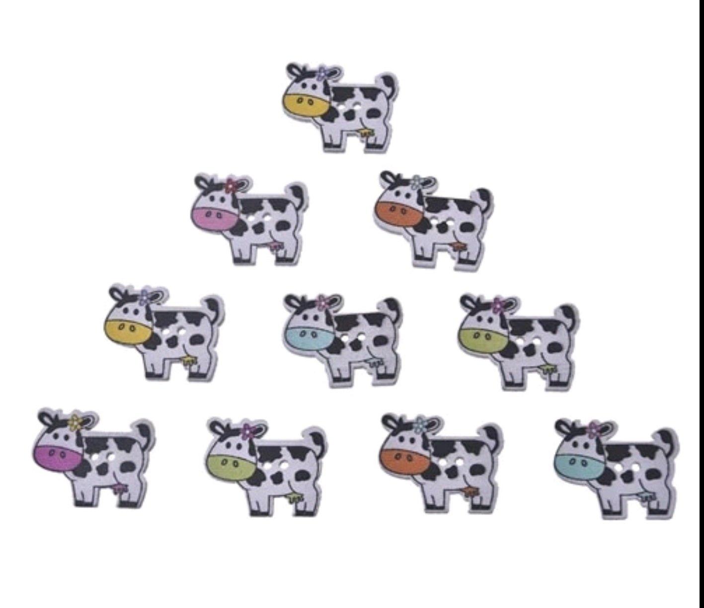 Vacas Botón Madera 10 unidades