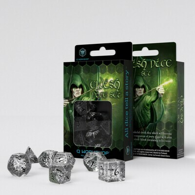 Elvish Translucent & black Dice Set (7) - Q-Workshop