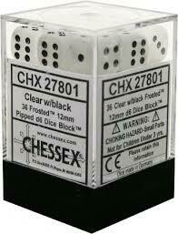 Frosted Clear-Black Dice Set - Die Set (36) - Chessex