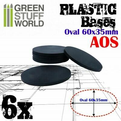60x35mm AOS Oval Kunststoffbasen (6x) - Greenstuffworld