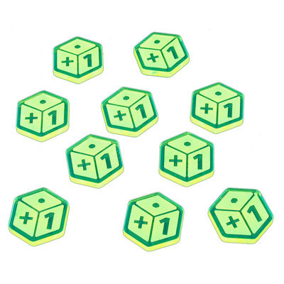 Plus One Tokens, Fluorescent Green (10) - Litko