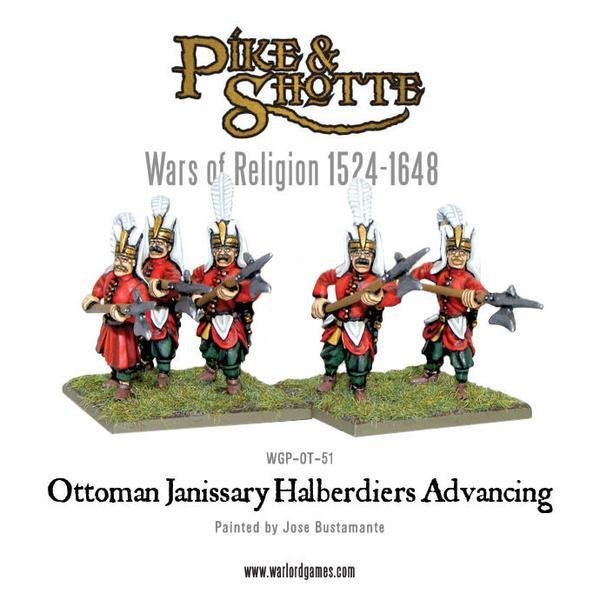 Ottoman Janissary Halberdiers Advancing - Pike & Shotte - Warlord Games