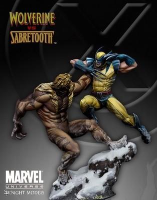 Wolverine vs Sabretooth 70mm - Marvel Knights Miniature