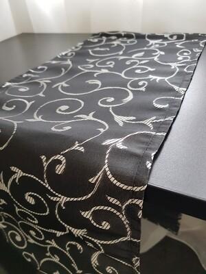 Traversa masa 24x130 cm, negru cu argintiu
