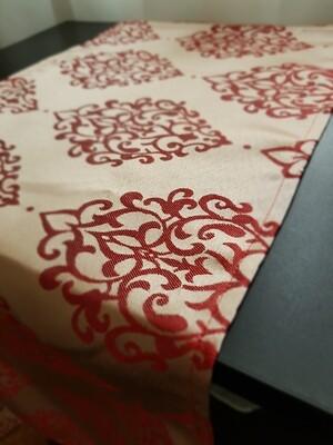 Traversa masa brocart crem& rosu, 30x145 cm