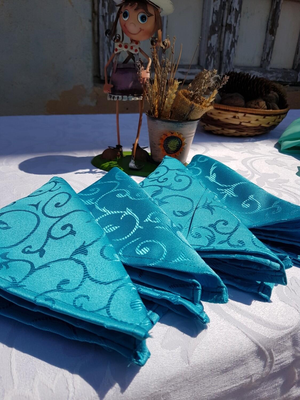 Servet brocart albastru turcoaz