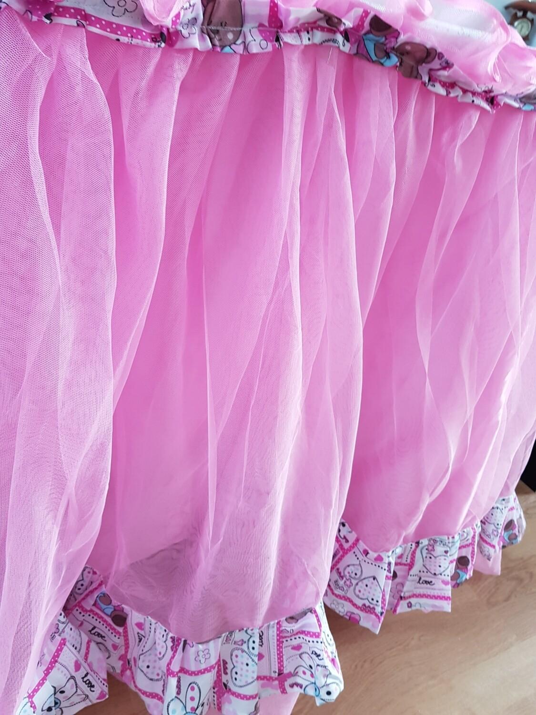 Fusta masa tulle si bumbac roz (botez)